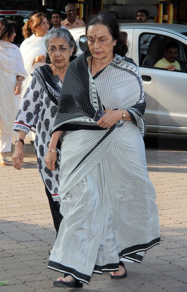 Bollywood Celebrities at the prayer meet of Madhuri Dixit Nene's Father